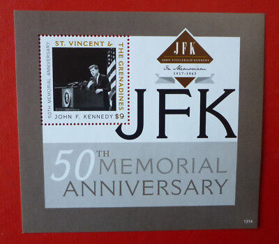 2013 St VINCENT 50TH ANNIV JFK MEMORIAL STAMP MINI SHEET