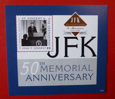 2013 St VINCENT 50TH ANNIV JFK MEMORIAL STAMP MINI SHEET 2