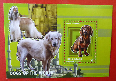 2013 St VINCENT ALPINE DACHSBRACKE AFGHAN DOGS UNION ISLAND STAMP MINI SHEET