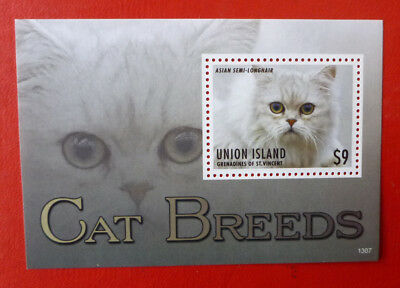 2013 St VINCENT CATS ASIAN SEMI-LINGHAIR UNION ISLAND STAMP MINI SHEET