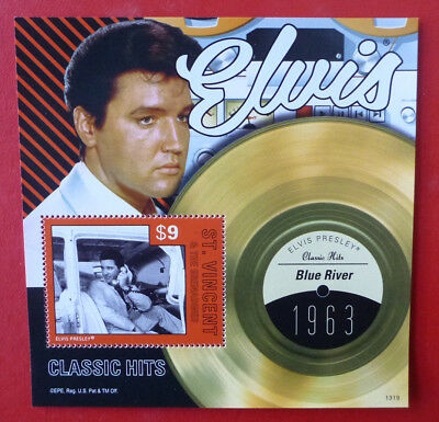 2013 St VINCENT ELVIS HITS BLUE RIVER STAMP MINI SHEET