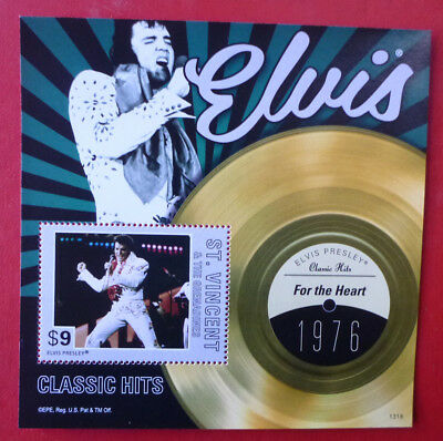 2013 St VINCENT ELVIS HITS FOR THE HEART STAMP MINI SHEET