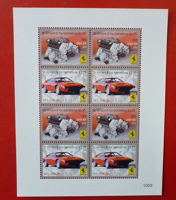 2013 St VINCENT FERRARI 1973 DINO 308 GT4 STAMP MINI SHEET