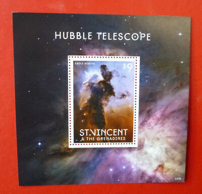 2013 St VINCENT HUBBLE TELESCOPE EAGLE NEBULA STAMP MINI SHEET