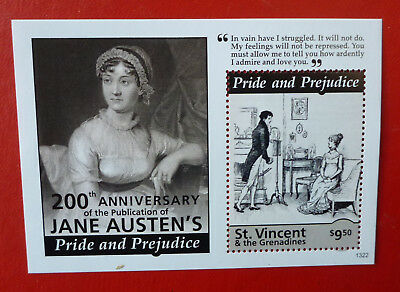 2013 St VINCENT JANE AUSTEN PRIDE & PREJUDINE STAMP MINI SHEET