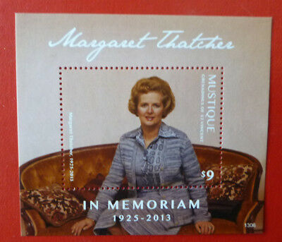 2013 St VINCENT MARGARET THATCHER MEMORIUM MUSTIQUE STAMP MINI SHEET