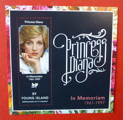 2013 St VINCENT PRINCESS DIANA MEMORIAM YOUNG ISLAND STAMP MINI SHEET