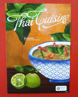 2013 St VINCENT THAI CUISINE  MUSTIQUE STAMP MINI SHEET