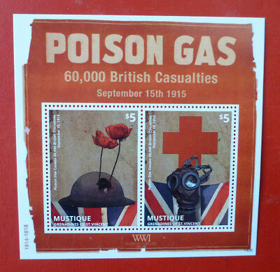 2014 St VINCENT 100th ANNIV WWI  POISON GAS MUSTIQUE STAMP MINI SHEET