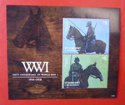 2014 St VINCENT 100th ANNIV WWI  STAMP MINI SHEET 2