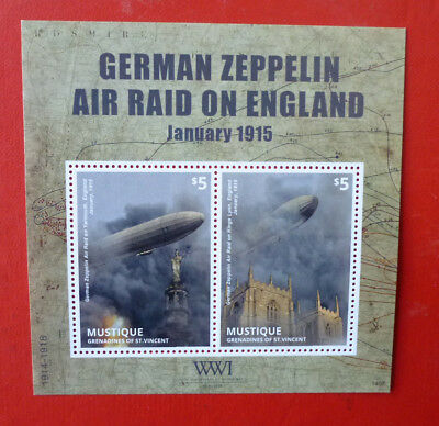 2014 St VINCENT 100th ANNIV WWI  ZEPPELIN MUSTIQUE STAMP MINI SHEET
