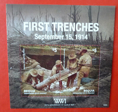 2014 St VINCENT 100th ANNIV WWI FIRST TRENCHES BEQUIA STAMP MINI SHEET