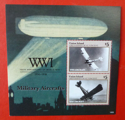 2014 St VINCENT 100th ANNIV WWI MILITARY AIRCRAFT UNION Is STAMP MINI SHEET