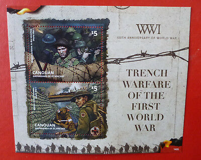 2014 St VINCENT 100th ANNIV WWI TRENCH WARFARE CANOUAN STAMP MINI SHEET