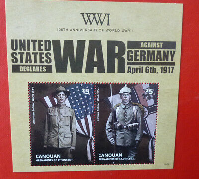 2014 St VINCENT 100th ANNIV WWI USA DECLARES WAR CANOUAN STAMP MINI SHEET