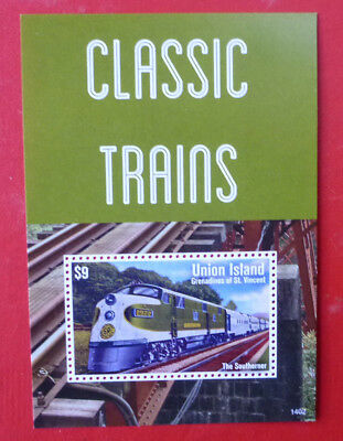 2014 St VINCENT CLASSIC TRAINS THE SOUTHERNER UNION Is STAMP MINI SHEET