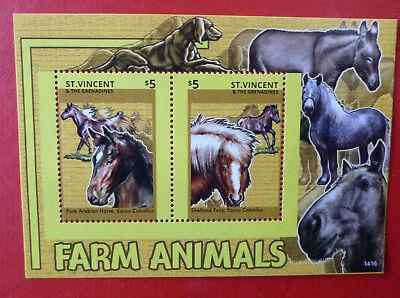 2014 St VINCENT FARM ANIMALS HORSES STAMP MINI SHEET