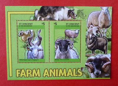 2014 St VINCENT FARM ANIMALS SHEEP STAMP MINI SHEET