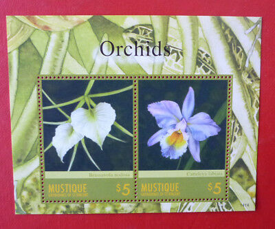 2014 St VINCENT ORCHIDS MUSTIQUE STAMP MINI SHEET 2