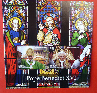 2014 St VINCENT POPE BENEDICT BEQUIA STAMP MINI SHEET 2