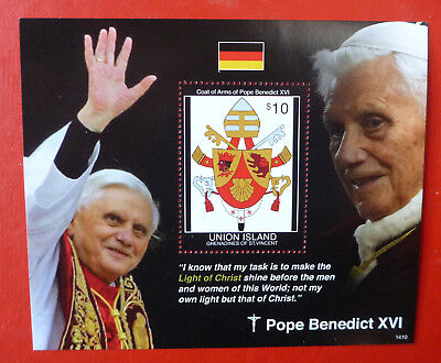 2014 St VINCENT POPE BENEDICT UNION ISLAND STAMP MINI SHEET