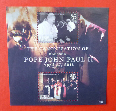 2014 St VINCENT POPE JOHN-PAUL II STAMP MINI SHEET