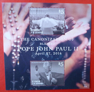 2014 St VINCENT POPE JOHN-PAUL II STAMP MINI SHEET 2