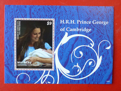 2014 St VINCENT PRINCE GEORGE CHRISTENING MAYREAU STAMP MINI SHEET