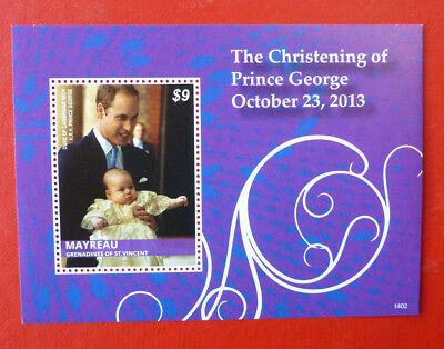 2014 St VINCENT PRINCE GEORGE CHRISTENING MAYREAU STAMP MINI SHEET #2