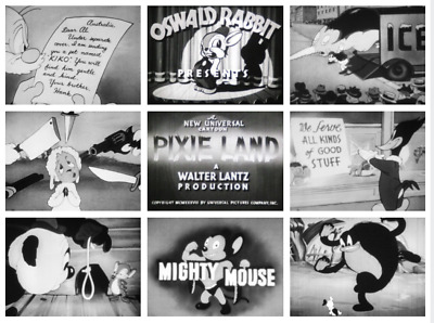 16MM SOUND FILMS (6 Cartoons): 1600 ft - MIGHTY MOUSE - WOODY - TERRYTOONS -