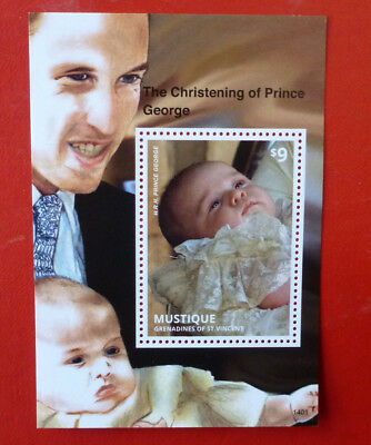 2014 St VINCENT PRINCE GEORGE CHRISTENING MUSTIQUE STAMP MINI SHEET