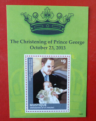 2014 St VINCENT PRINCE GEORGE CHRISTENING MUSTIQUE STAMP MINI SHEET 2