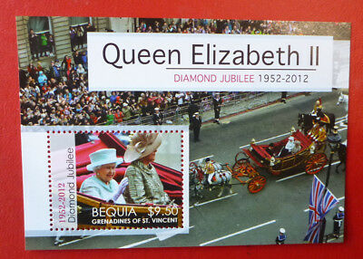 2014 St VINCENT QEII DIAMOND JUIBILEE BEQUIA STAMP MINI SHEET
