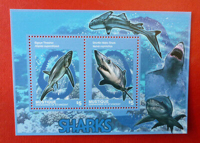 2014 St VINCENT SHARKS MUSTIQUE STAMP MINI SHEET