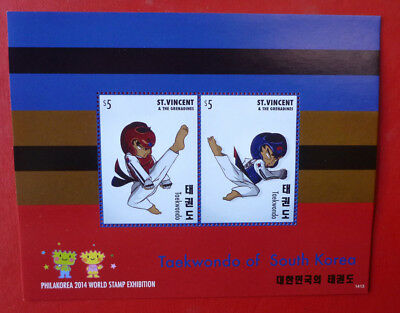 2014 St VINCENT Sth KOREA TAEKWONDO EXHIBITION STAMP MINI SHEET