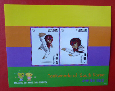2014 St VINCENT Sth KOREA TAEKWONDO EXHIBITION STAMP MINI SHEET 2