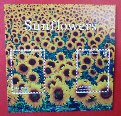 2014 St VINCENT SUNFLOWERS  STAMP MINI SHEET