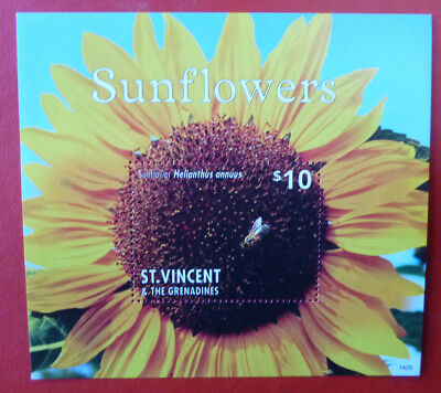 2014 St VINCENT SUNFLOWERS  STAMP MINI SHEET 2