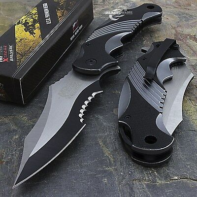 """8.25"""" MTECH USA TWO TONE SPRING ASSISTED FOLDING TACTICAL POCKET KNIFE Open"""