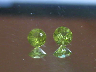 Peridot, 3.75 mm Brilliant cut green peridot gemstones,1 pair