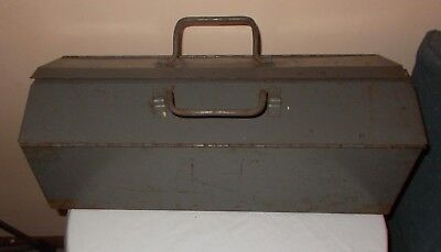 Antique Tool Box Industrial Steel Metal Storage tray Primitive Project Free S/H