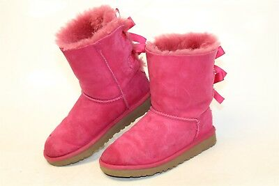 UGG Australia Uggs 3280K Bailey Bow Kids Girls 2 32 Pink Sheepskin Boots ws