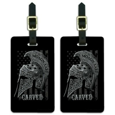 Carved Molon Labe USA American Flag Luggage ID Tags Cards Set of 2