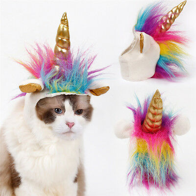 Halloween Pet Custome Unicorn Clothing Dog & Cat Party Colorful Feather Headgear