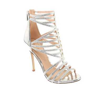 b1a170f6827b ALDO Women s Fabricadiroma Cage Sandal Silver Flocked Synthetic Strappy  Sandals