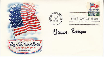 NANCY REAGAN hand signed 1968 Flag of the US FDC first day cover autographed