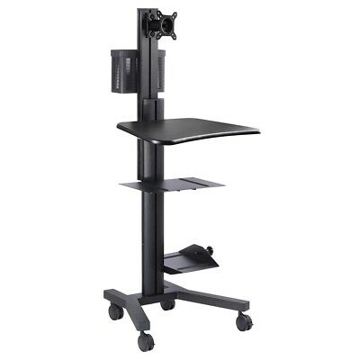 Desktop PC Rolling Mobile Cart Sit Stand Up Workstation Monitor Mount Mall Show