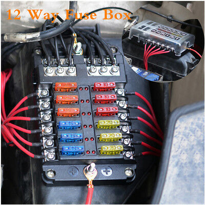 12 Way Car Auto Boat Marine Bus UTV Blade Fuse Box Block Cover LED Indicators