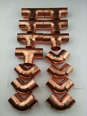 "(14)NIBCO 1"" Sweat Wrot Copper Elbows And Tees"