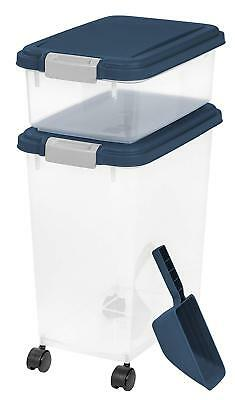 Pet Food Container Dog Cat Feed Scoop Dry Bin Storage Air Tight Rolling Wheel